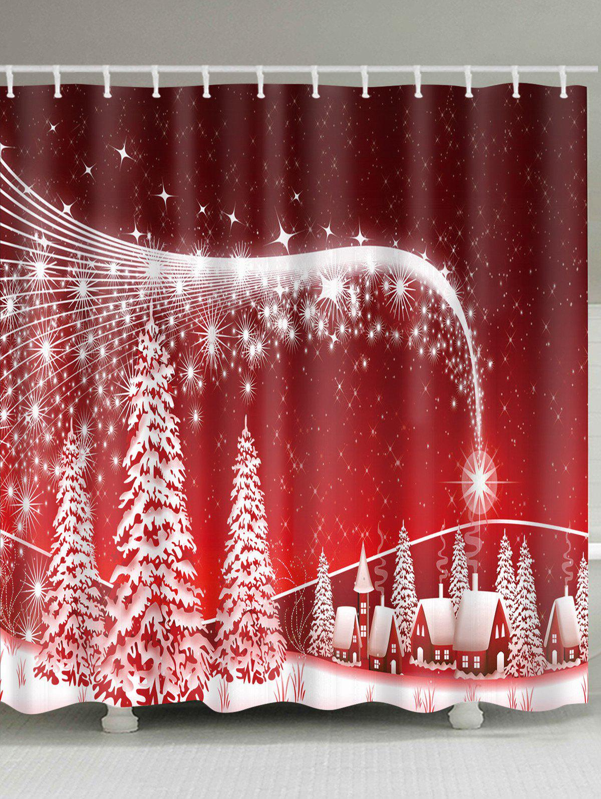 Christmas Snowscape Print Polyester Waterproof Shower Curtain christmas elk print polyester waterproof shower curtain