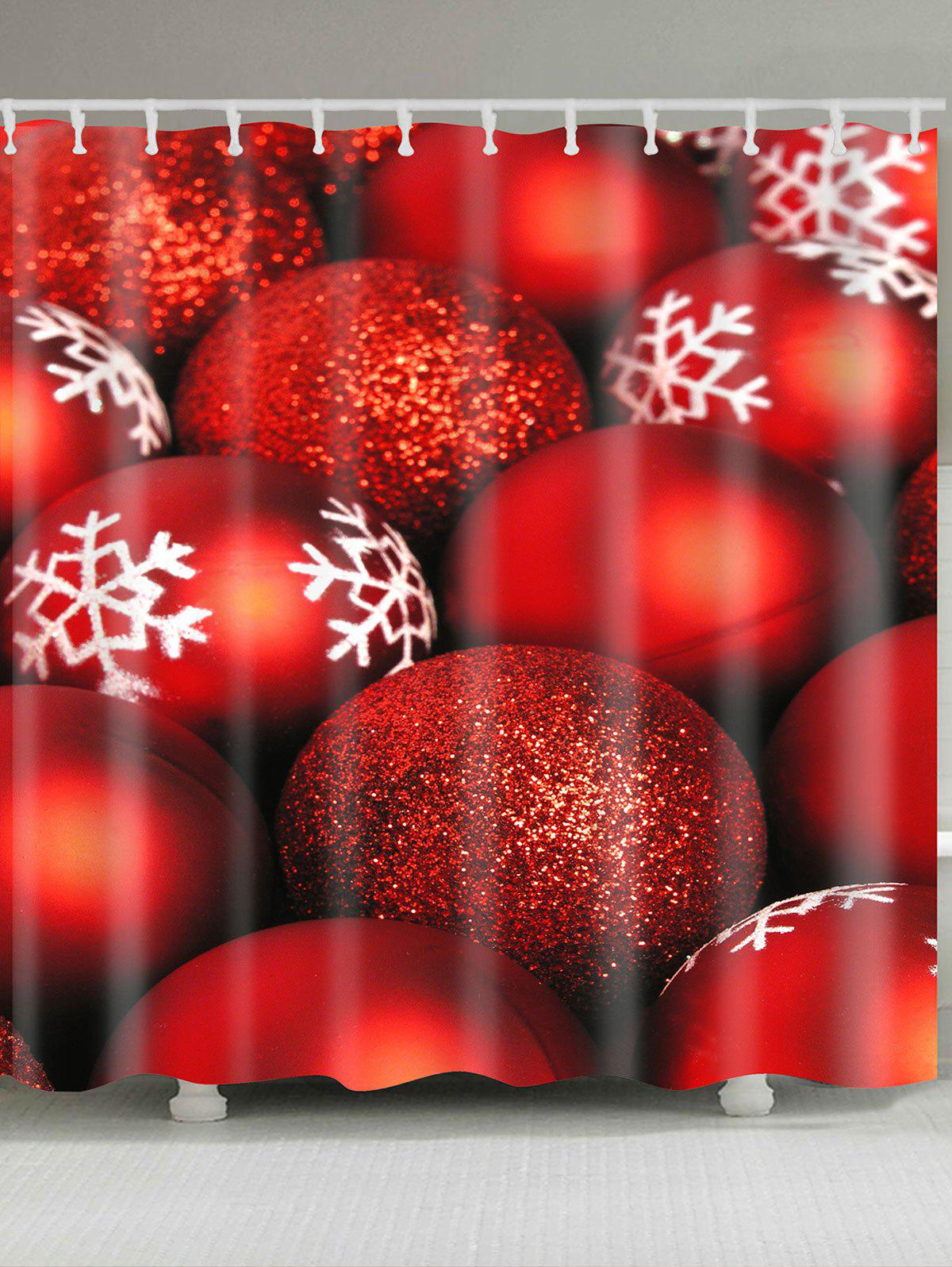 Christmas Snowflake Red Balls Pattern Waterproof Shower Curtain cka1012 christmas bell snowflake bow pattern bedroom decorative sticker red golden white