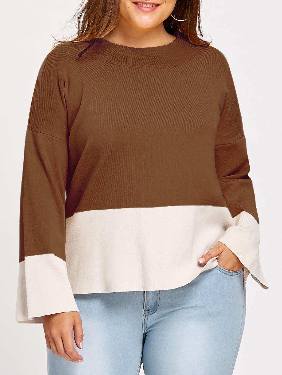 Color Block Mock Neck Plus Size Sweater - COFFEE 2XL