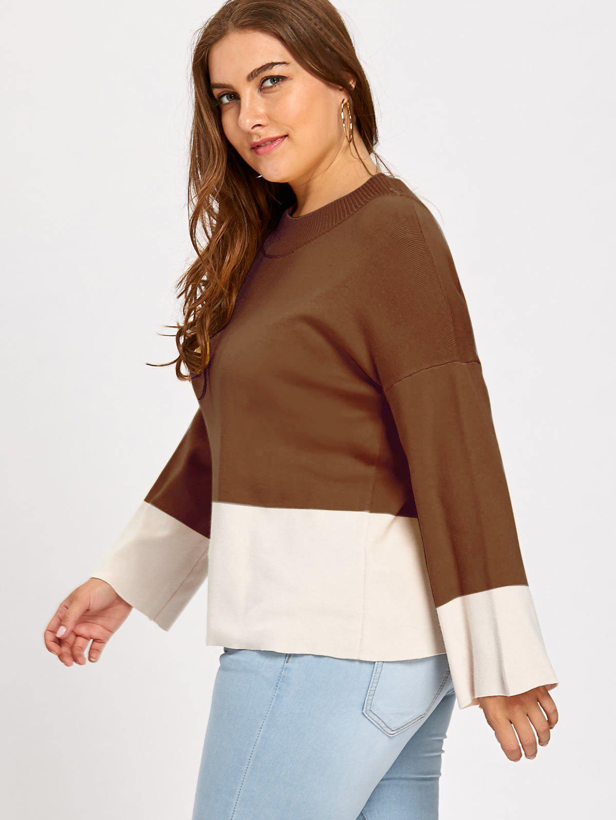 Color Block Mock Neck Plus Size Sweater - COFFEE 3XL