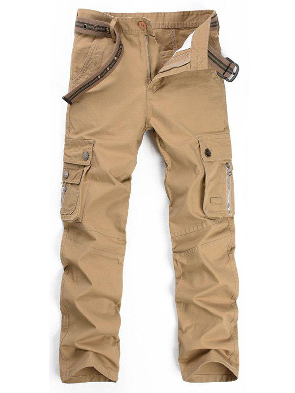 Zipper Fly Multi Pockets Cargo Pants - KHAKI 38