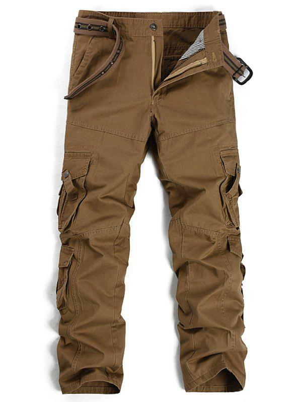 Straight Leg Pockets Design Cargo Pants - COFFEE 36