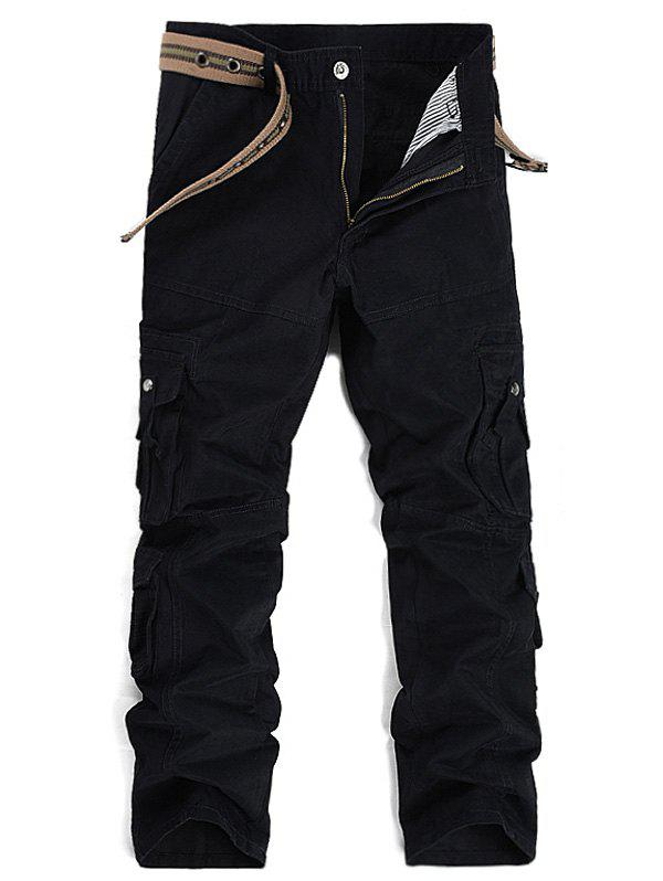 Straight Leg Pockets Design Cargo Pants - BLACK 32