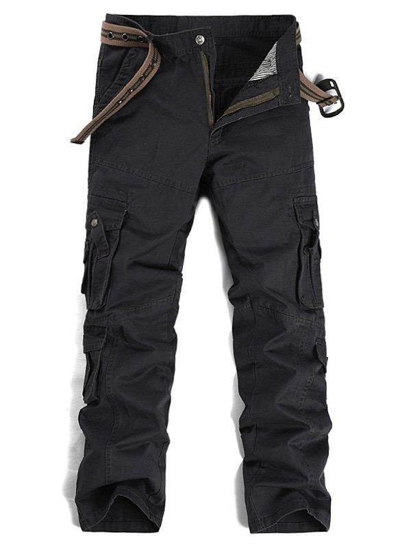 Straight Leg Pockets Design Cargo Pants - DEEP GRAY 34