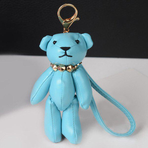 Cute Artificial Leather Bear Keychain - BLUE