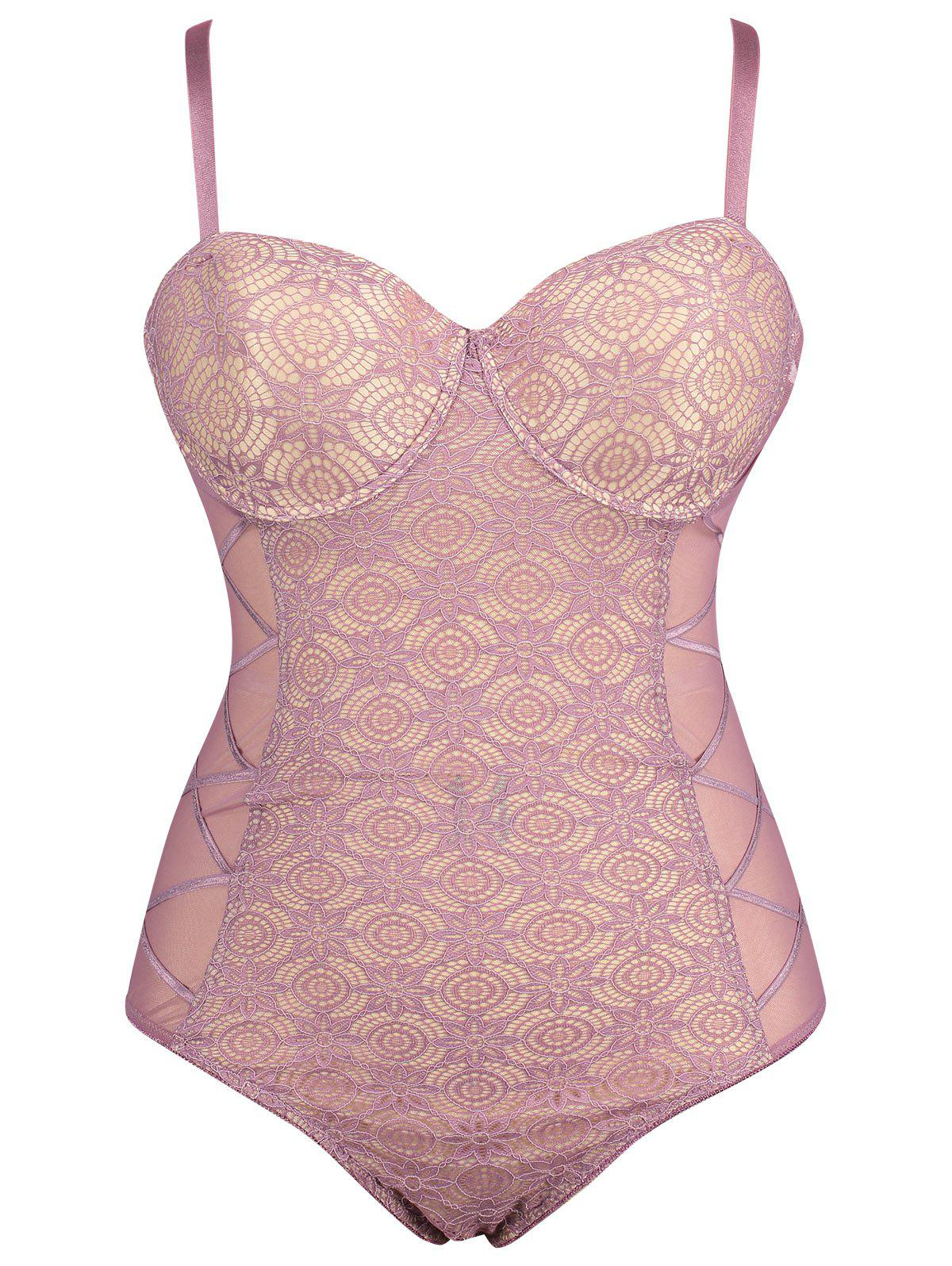 Plus Size Lace Sheer Underwire Slip Teddy - PALE PINKISH GREY XL