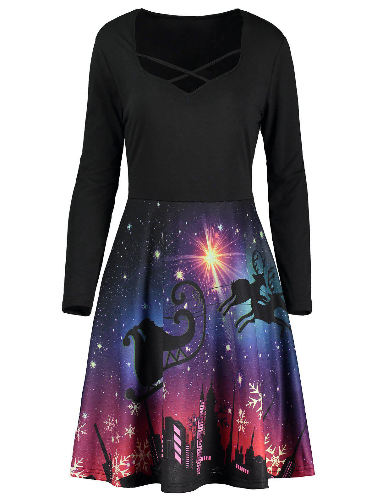 Gorgeous Night Scene Printed Long Sleeve Dress - COLORMIX XL