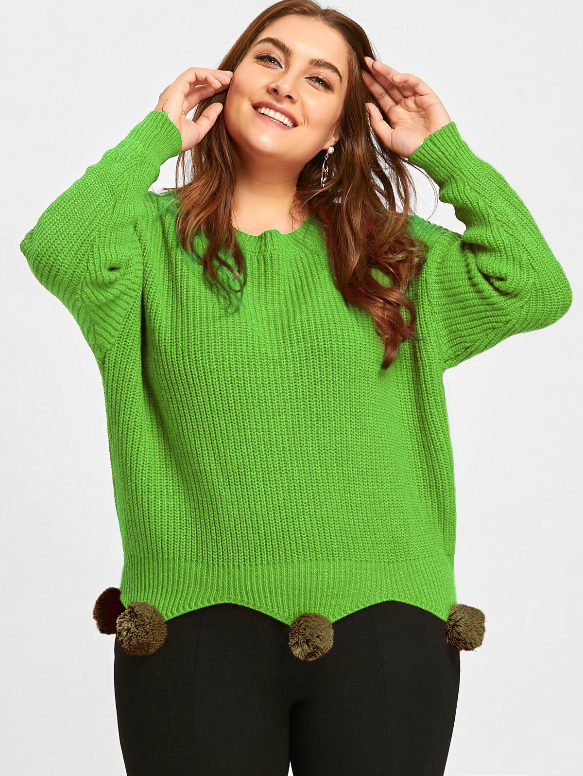 Pull tunique en maille grande taille avec pompon - GREEN ONE SIZE
