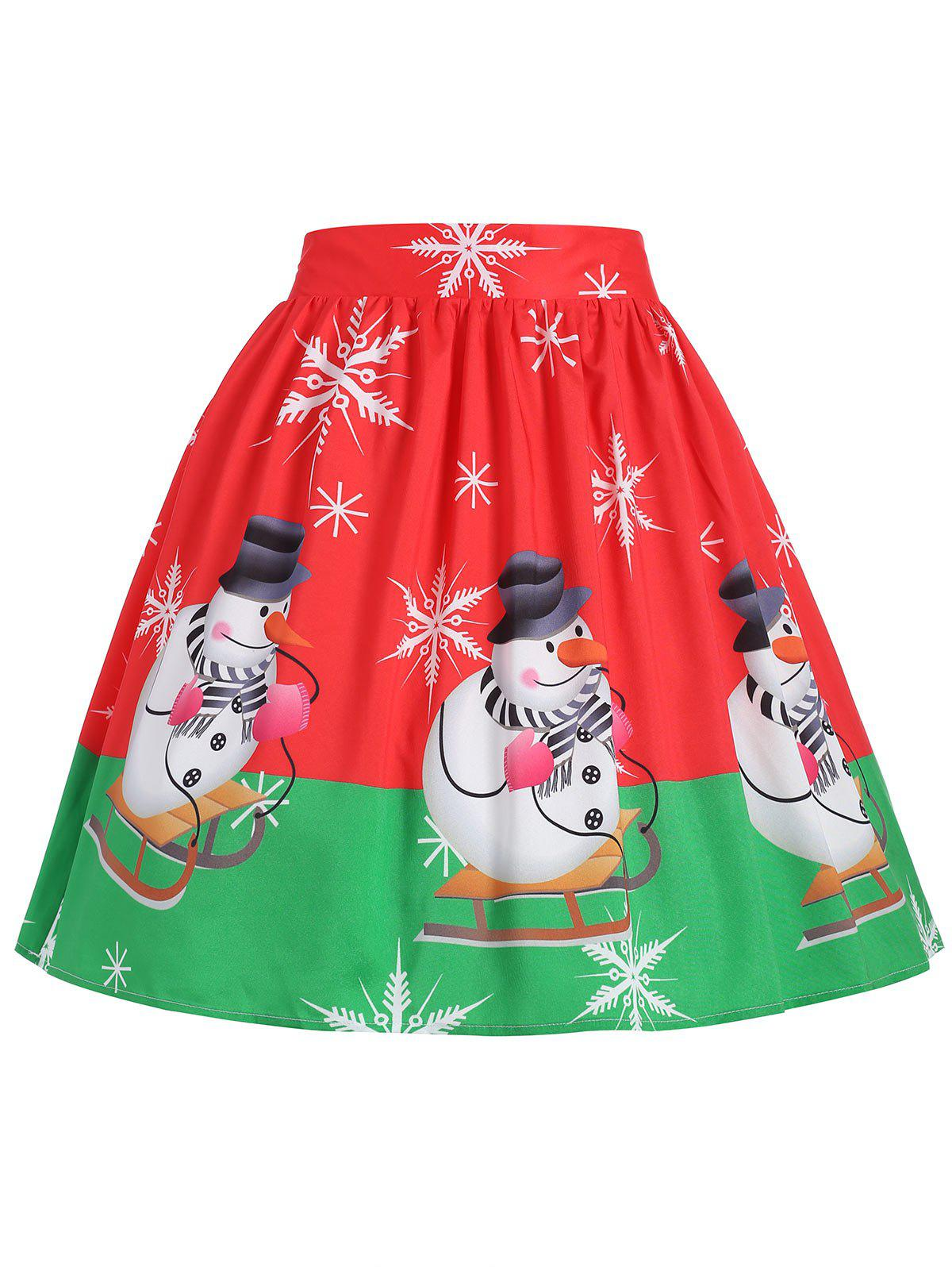 Plus Size Christmas Snowman Snowflake Skirt - RED XL