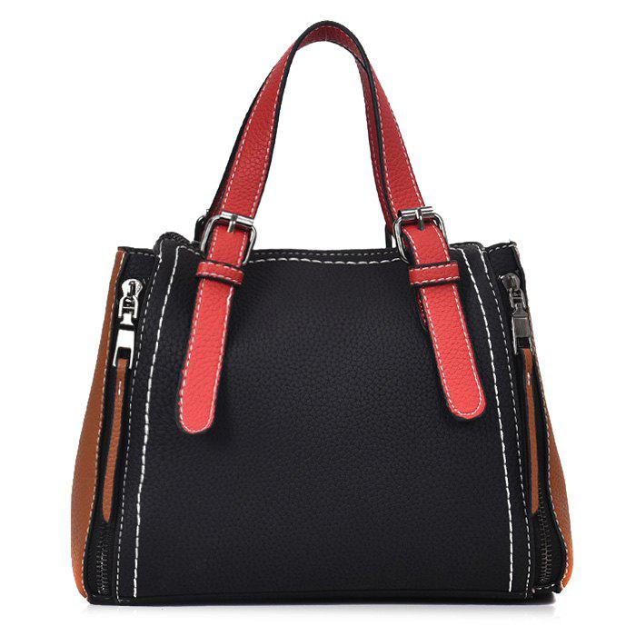PU Leather Contrasting Color Handbag With Strap - BLACK