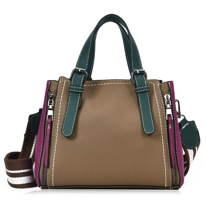 PU Leather Contrasting Color Handbag With Strap - KHAKI