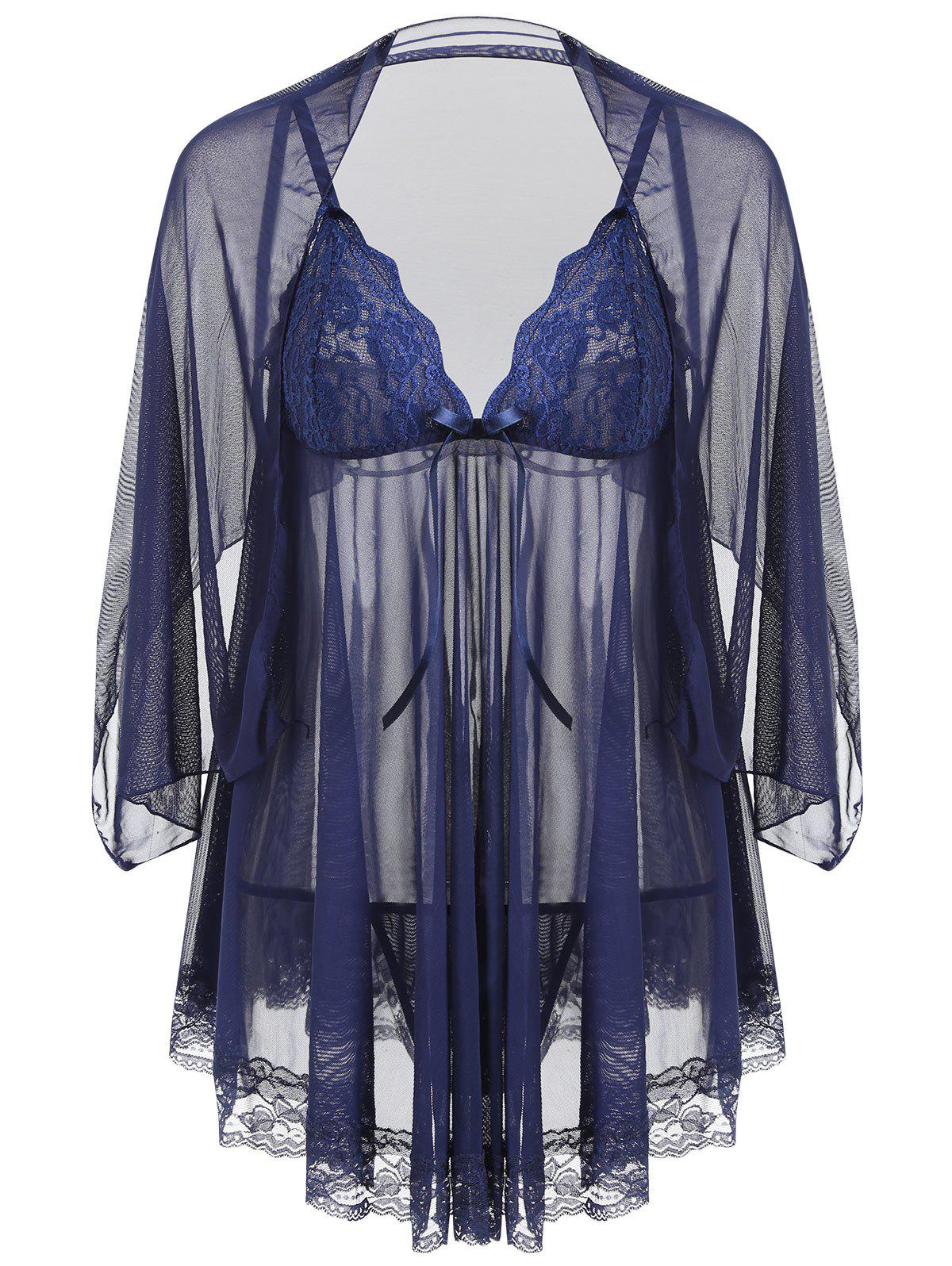 Slip See Through Mesh Babydoll - MIDNIGHT L