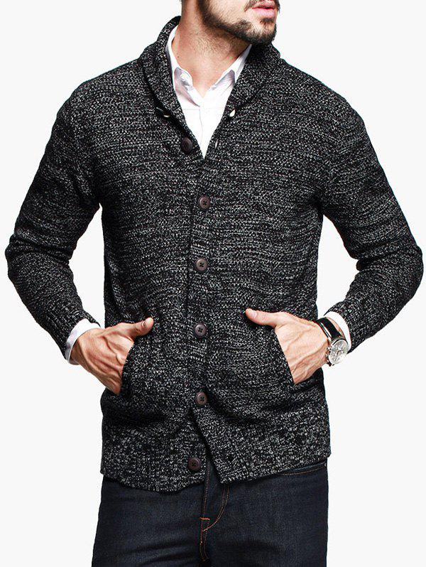 Woolen Yarn Shawl Collar Button Up Cardigan - BLACK XL