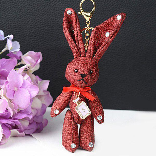 Rhinestone Rabbit Cute Keychain - RED