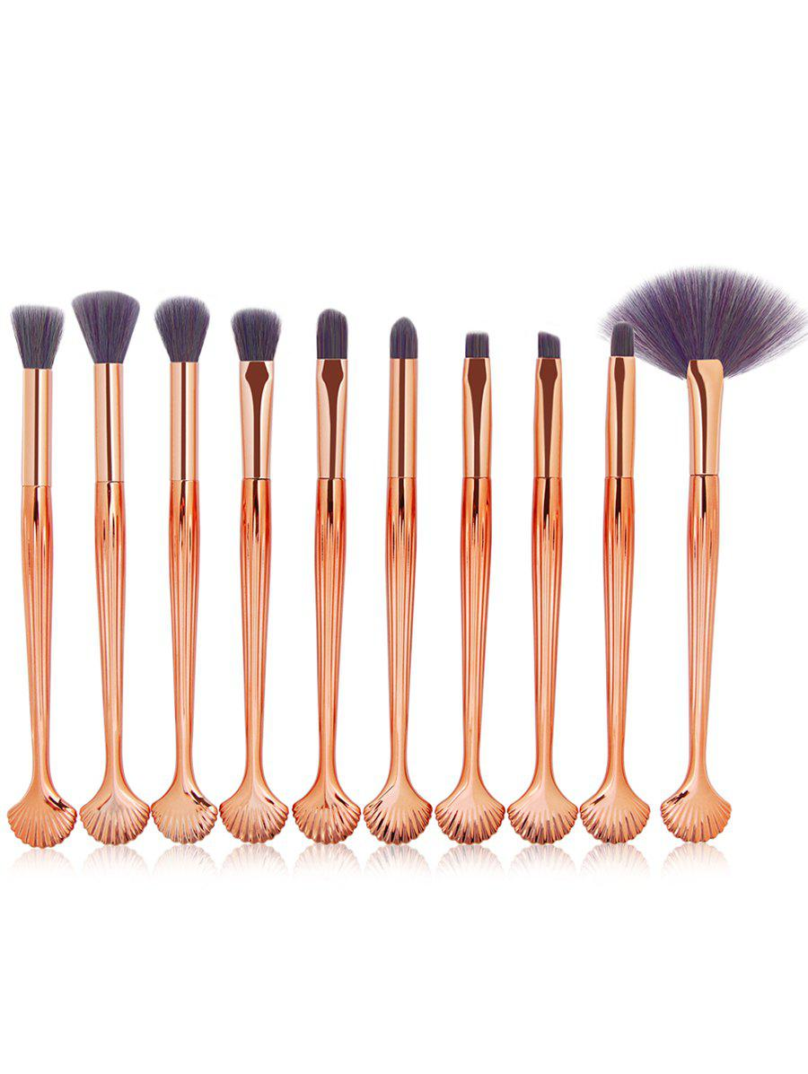 10Pcs Plastic Handle Makeup Brushes Collection - PURPLE