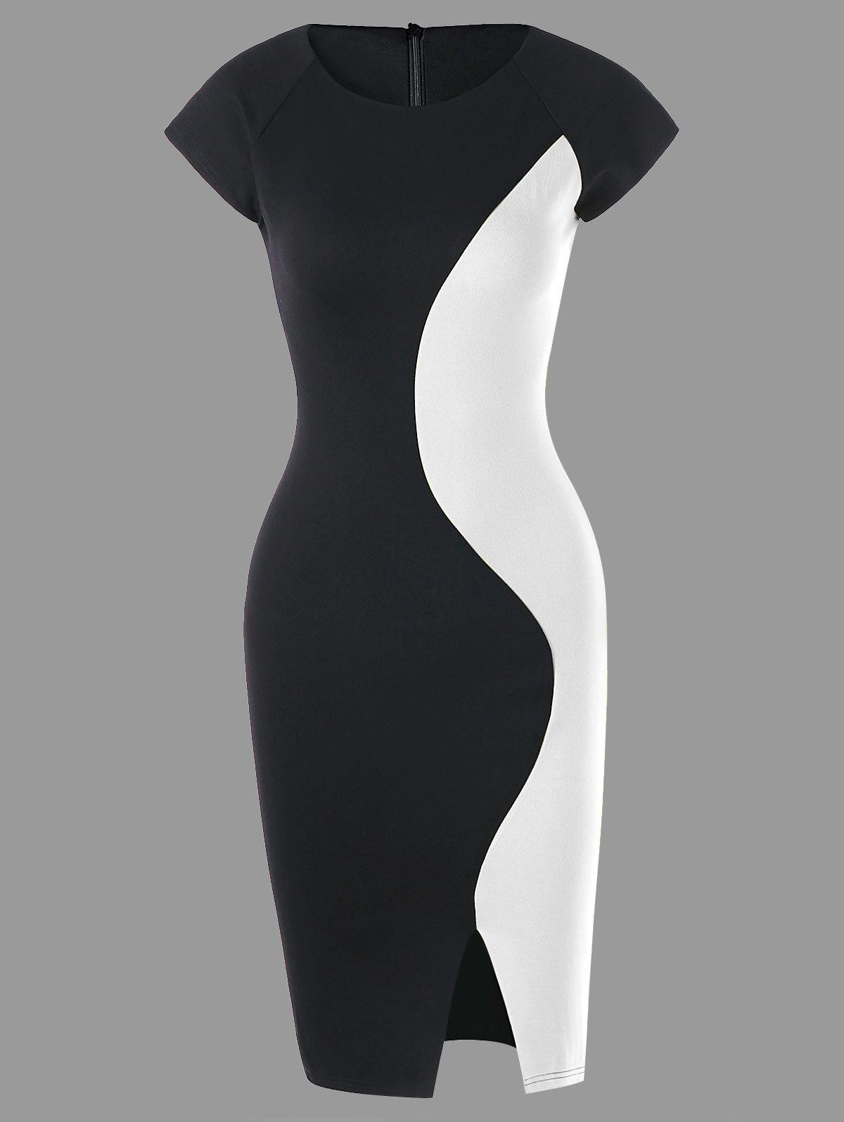 Two Tone Cap Sleeve Fitted Dress - WHITE/BLACK L