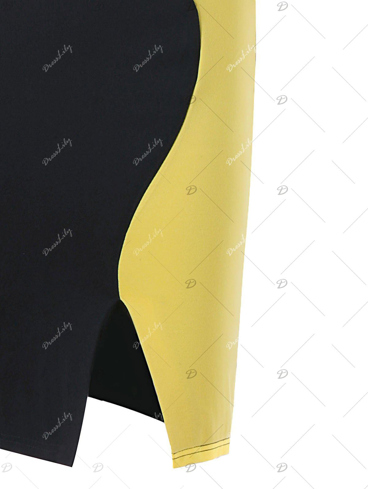 Two Tone Cap Sleeve Fitted Dress - YELLOW/BLACK L
