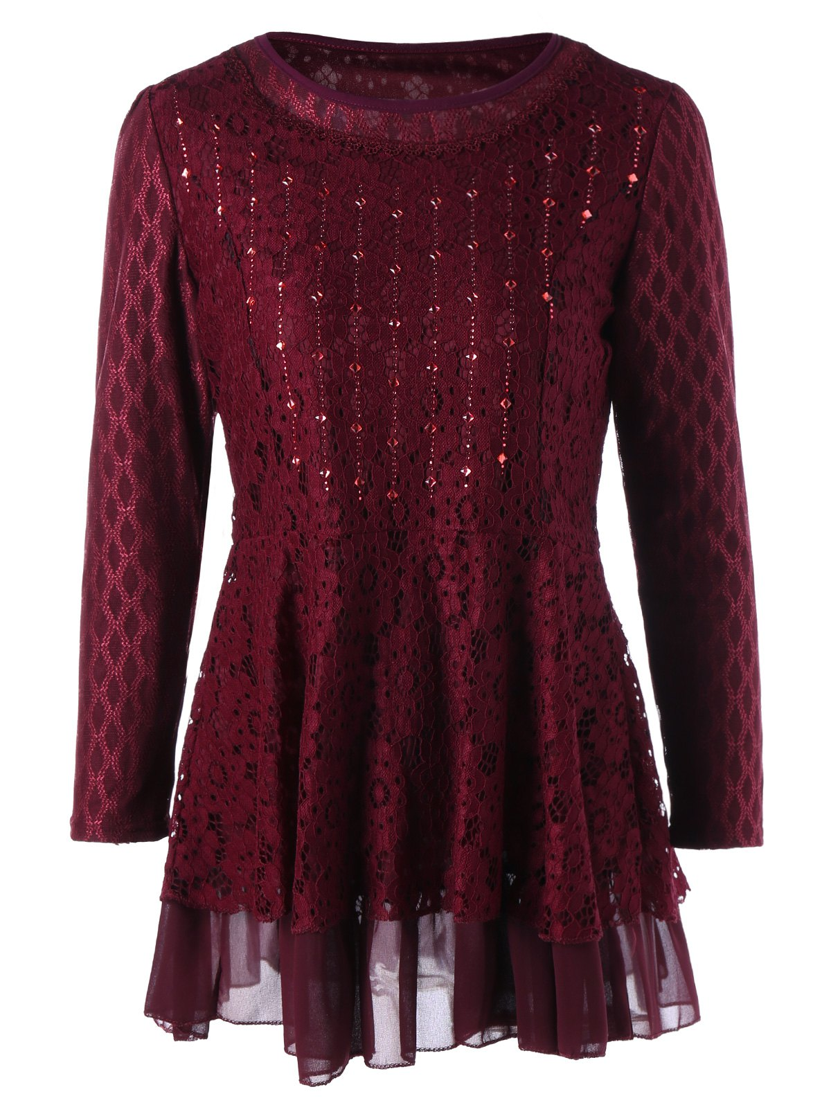 Plus Size Embellished Layered Lace Peplum Top - WINE RED XL