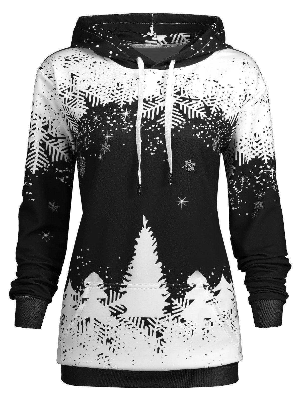 Plus Size Christmas Snowflake Tree Hoodie with Pocket - BLACK 2XL