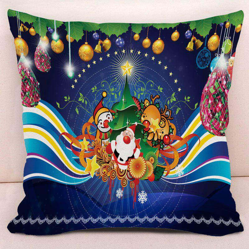 Christmas Theme Printed Decorative Throw Pillow Case - BLUE W17.5 INCH * L17.5 INCH