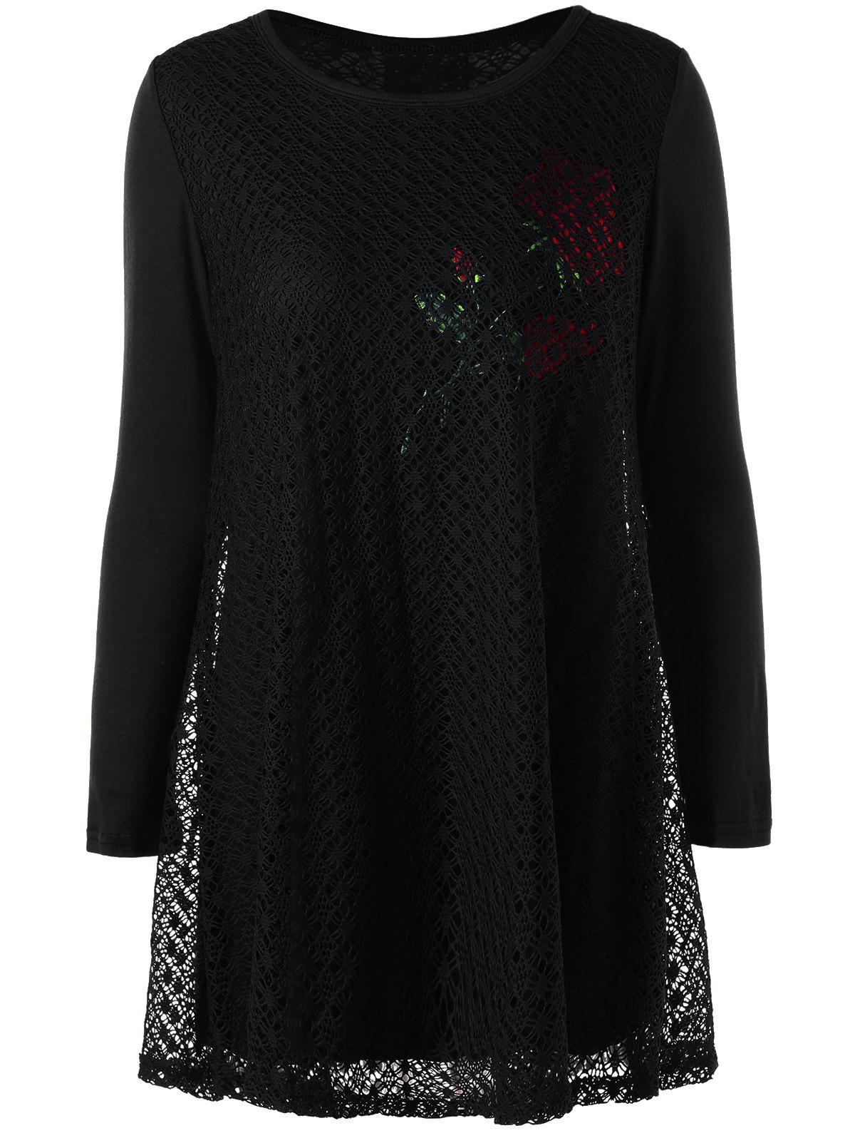 Plus Size Rose Pattern Openwork Tunic Blouse - BLACK 4XL