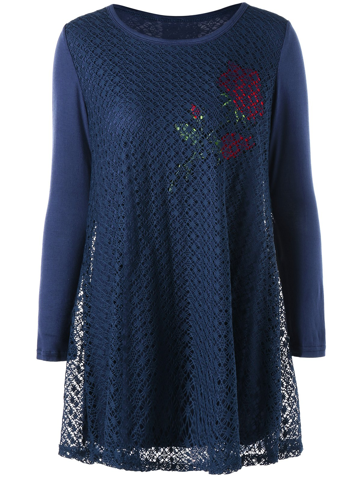 Plus Size Rose Pattern Openwork Tunic Blouse - CADETBLUE 5XL