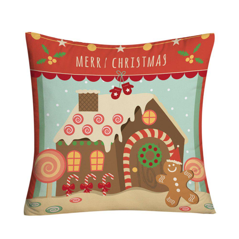 Christmas Candy House Print Decorative Throw Pillowcase - COLORMIX W18 INCH * L18 INCH