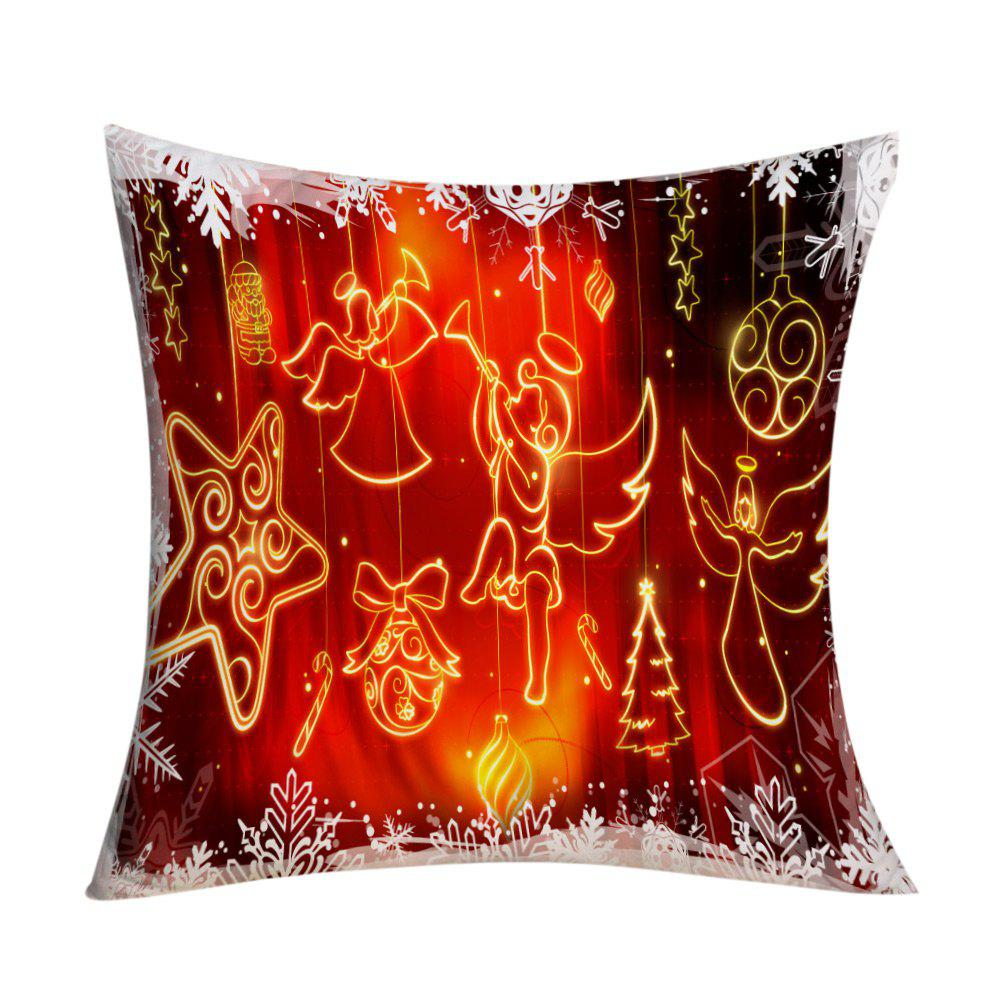 Christmas Angel Ornaments Print Decorative Pillowcase - RED W18 INCH * L18 INCH