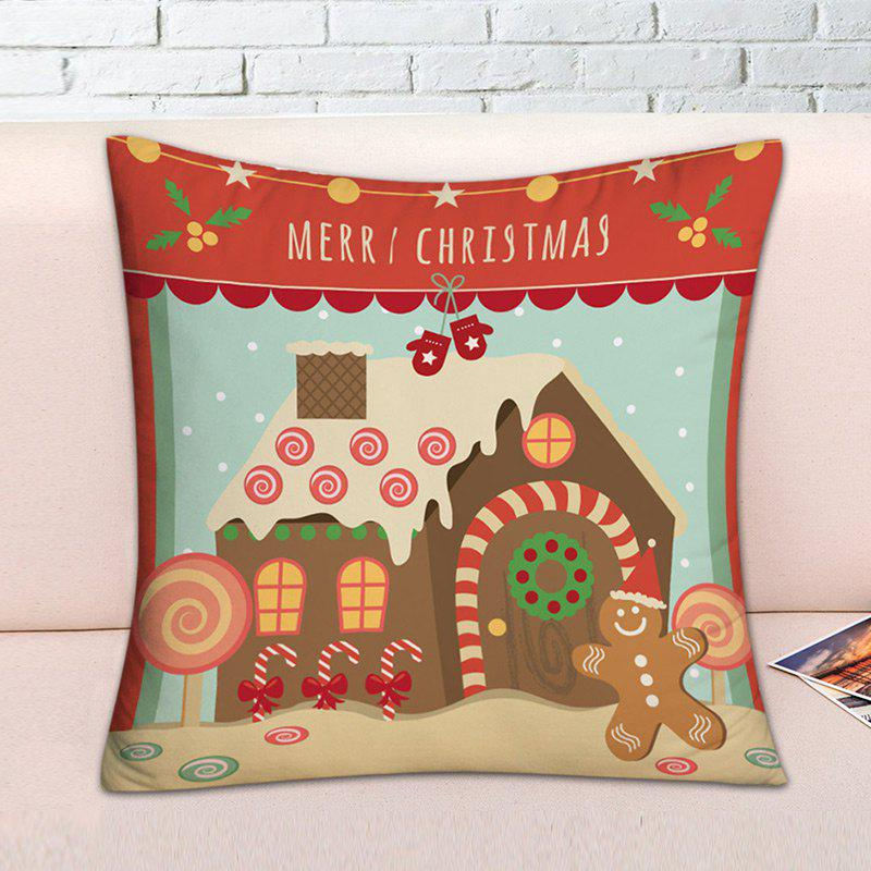 Christmas Candy House Print Decorative Throw Pillowcase - COLORMIX W17.5 INCH * L17.5 INCH