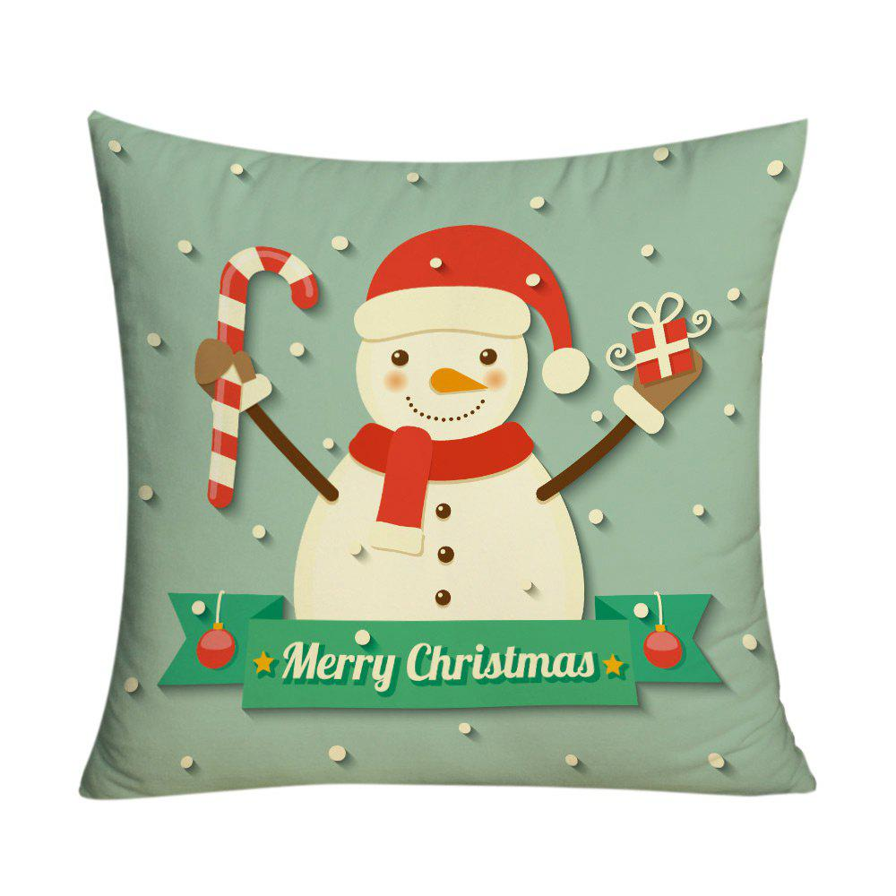Christmas Snowman Pattern Square Decorative Pillow Case - GREEN W18 INCH * L18 INCH