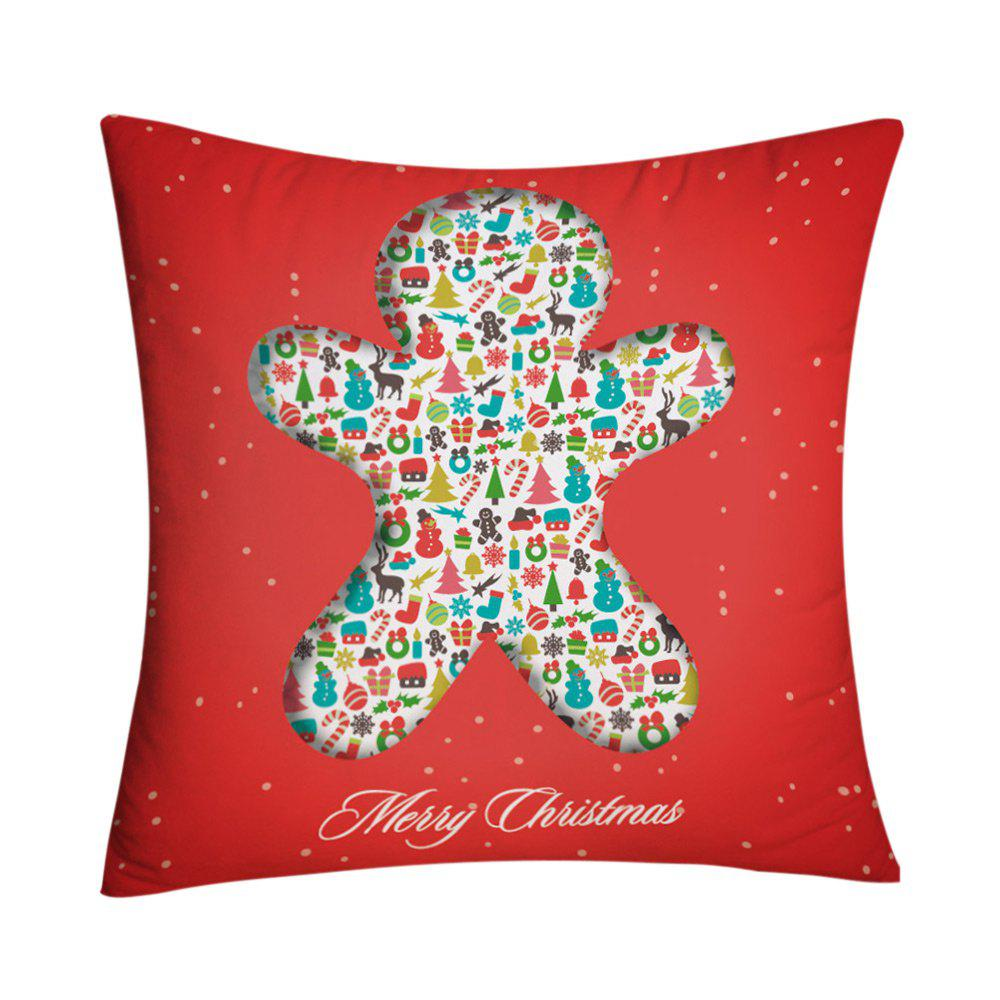 Christmas Elements Print Decorative Square Pillowcase - RED W18 INCH * L18 INCH