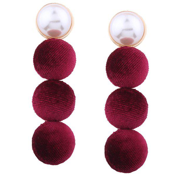 Faux Pearl Pompon Round Earrings faux pearl beaded round floral earrings