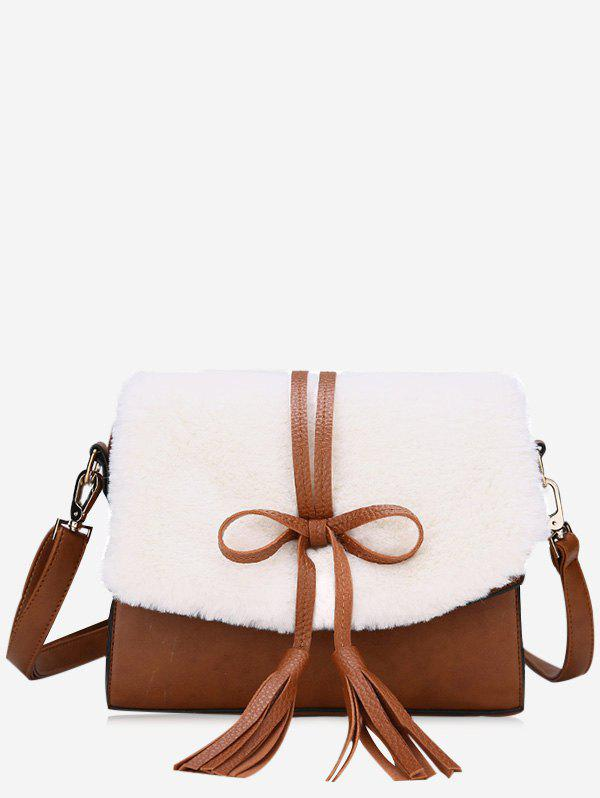 Tassel Bowknot Crossbody Bag - WHITE