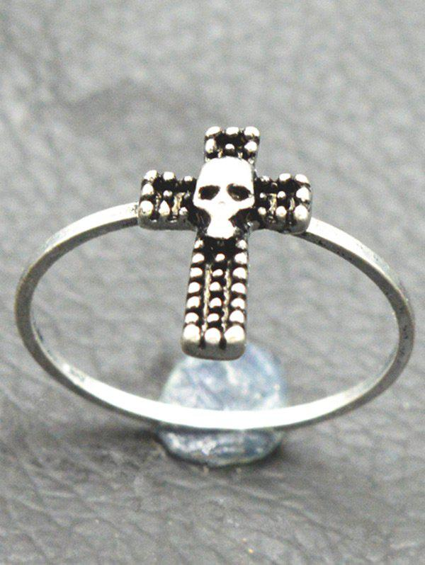 Gothic Skull Crucifix Finger Ring - SILVER 7