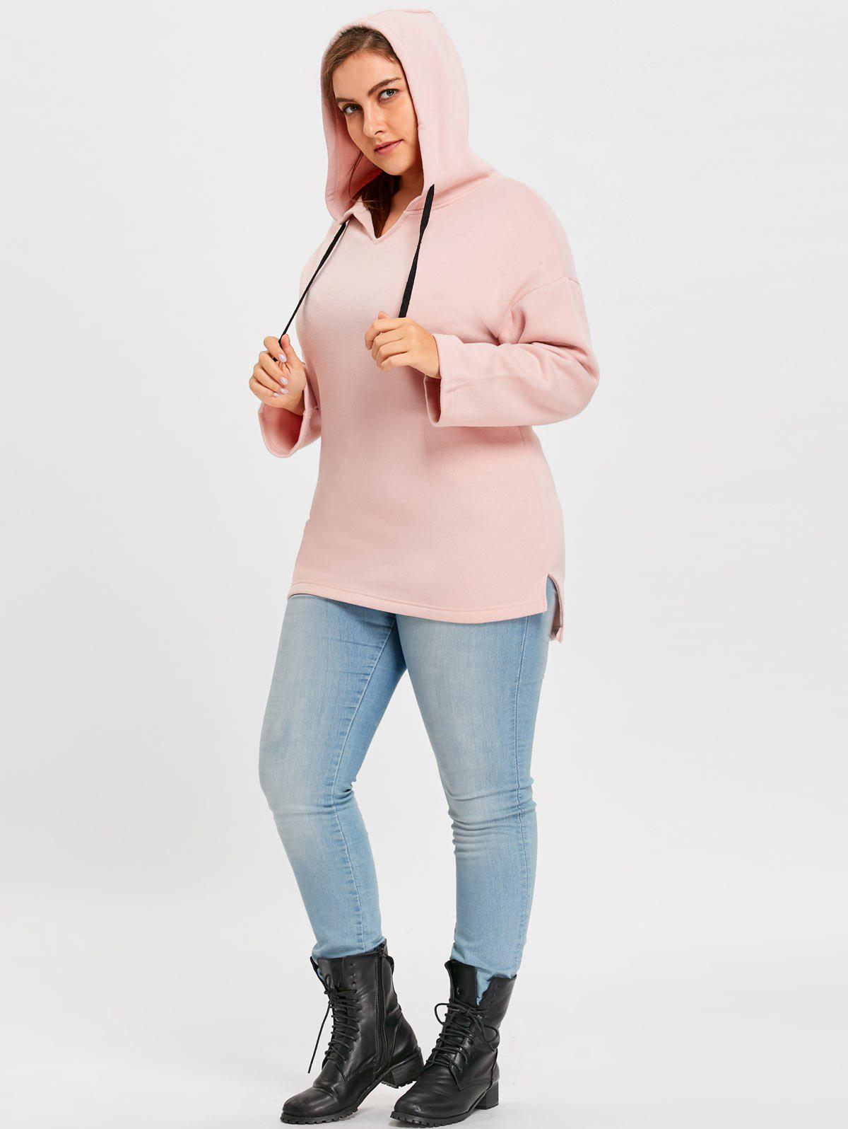 Plus Size Fleece Lined Long Pullover Hoodie - PINK 4XL