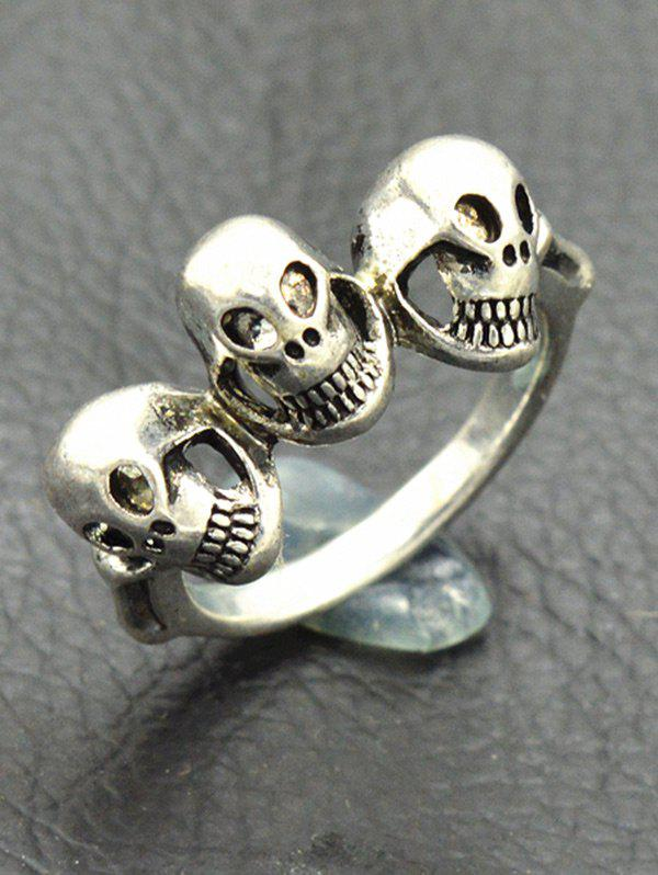Punk Alloy Engraved Skulls Finger Ring - SILVER ONE-SIZE