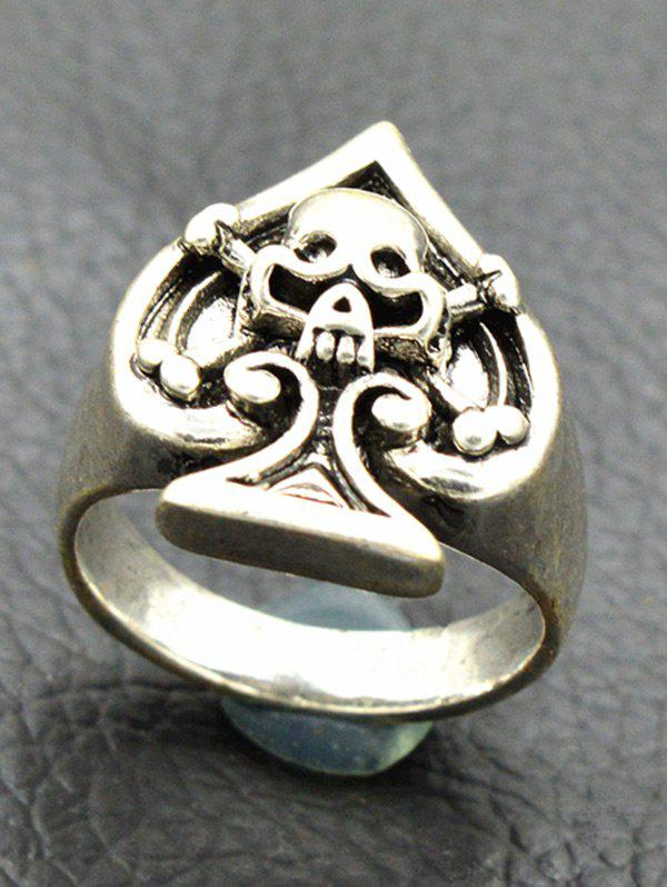 цены Vintage Engraved Skull Crossbones Heart Ring