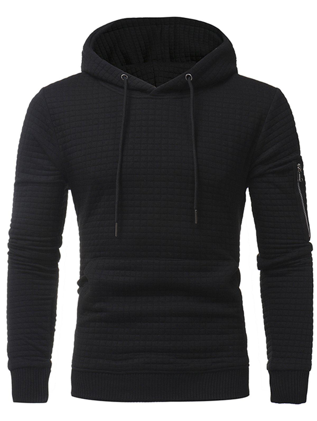 Pocket Plaid Emboss Pullover Hoodie - BLACK 3XL