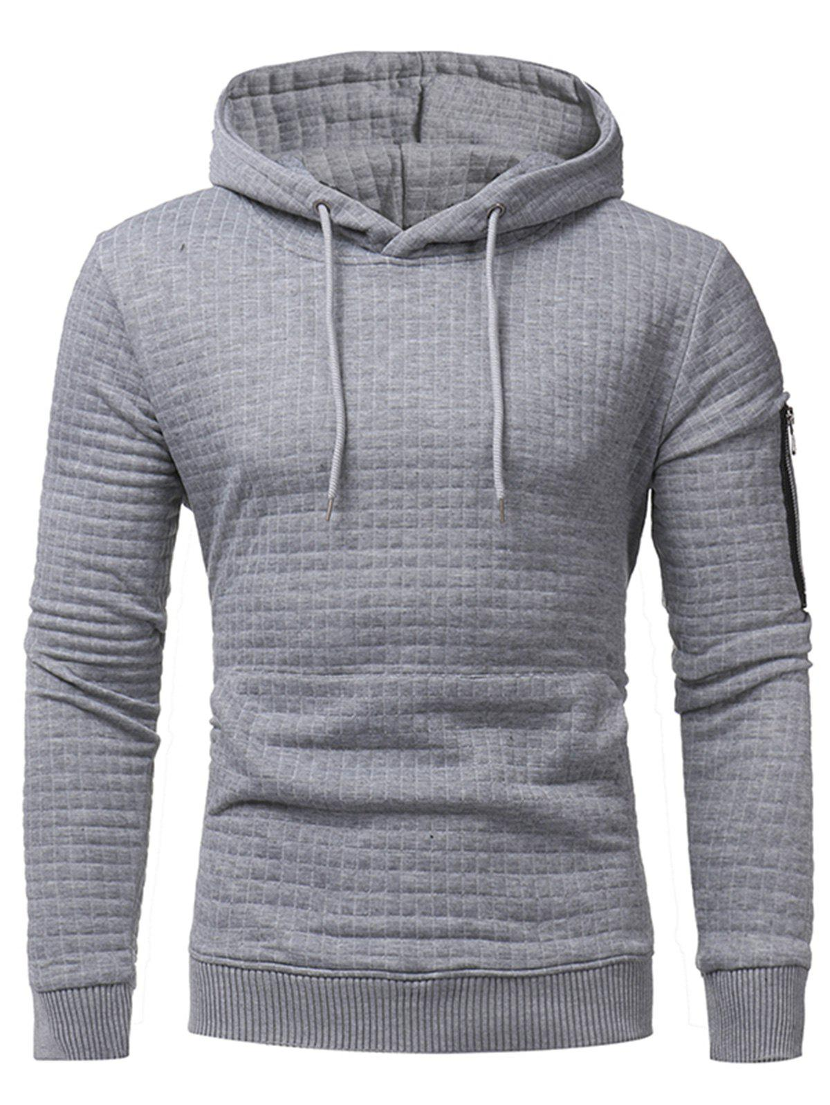 Pocket Plaid Emboss Pullover Hoodie - LIGHT GRAY 2XL