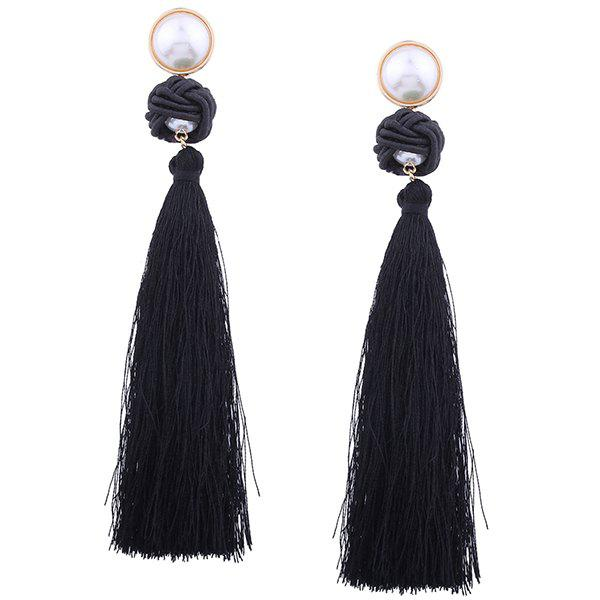 Artificial Pearl Rope Knot Tassel Earrings