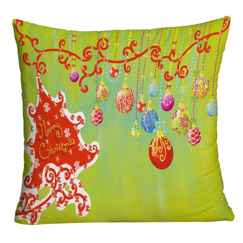 Christmas Hanging Balls Printed Decorative Square Pillowcase - YELLOW GREEN W18 INCH * L18 INCH