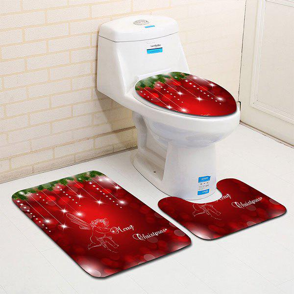 Beautiful 3PCS Christmas Angle Printed Flannel Bath Toilet Rugs Set   RED