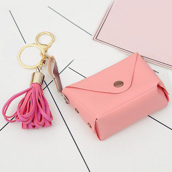 Cute Artificial Leather Bag Tassel Keychain - WATERMELON RED