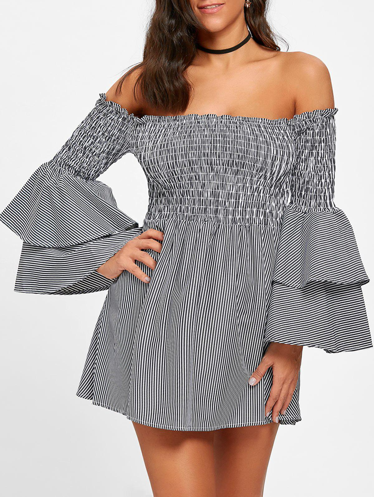 Striped Off The Shoulder Bell Sleeve Dress contrast fishnet shoulder bell sleeve swing dress