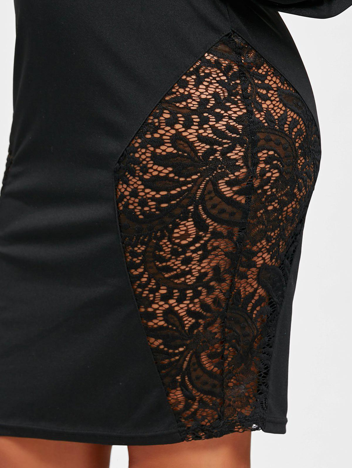 Lace Insert Tube Bodycon Dress - BLACK M