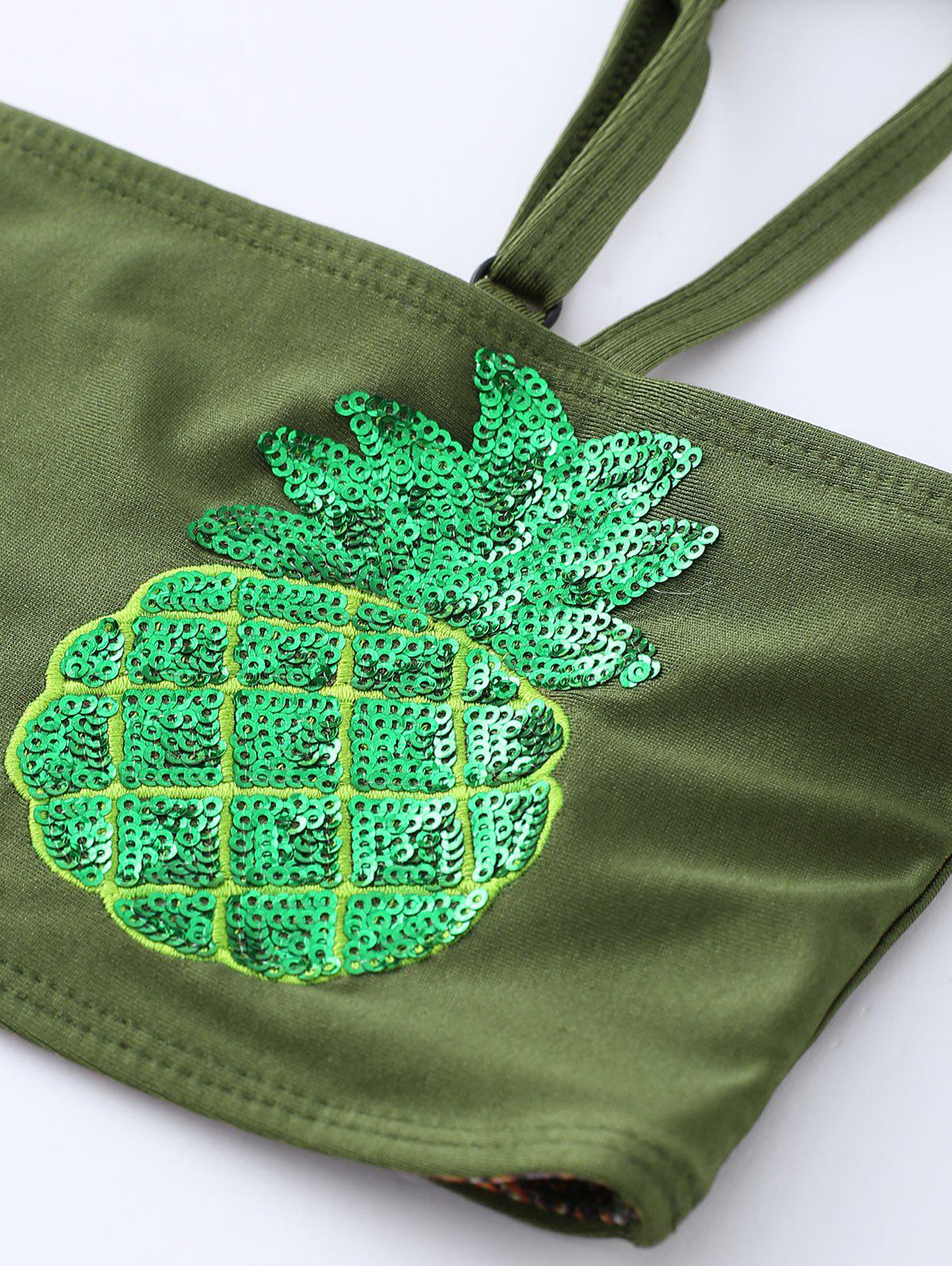 Sequined Pineapple Bandeau Bikini Set - BLACKISH GREEN L