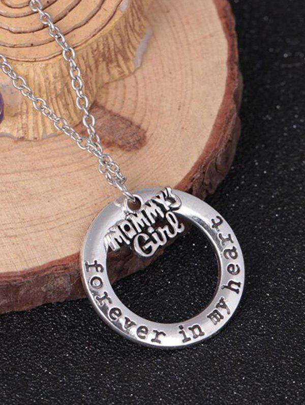 Circle Engraved Forever in Heart Family Necklace