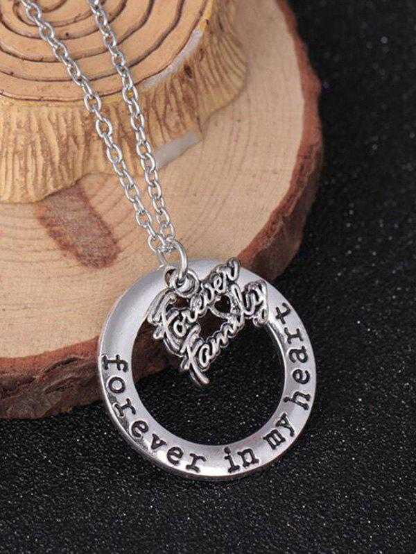Circle Engraved Forever in Heart Family Necklace - PATTERN I