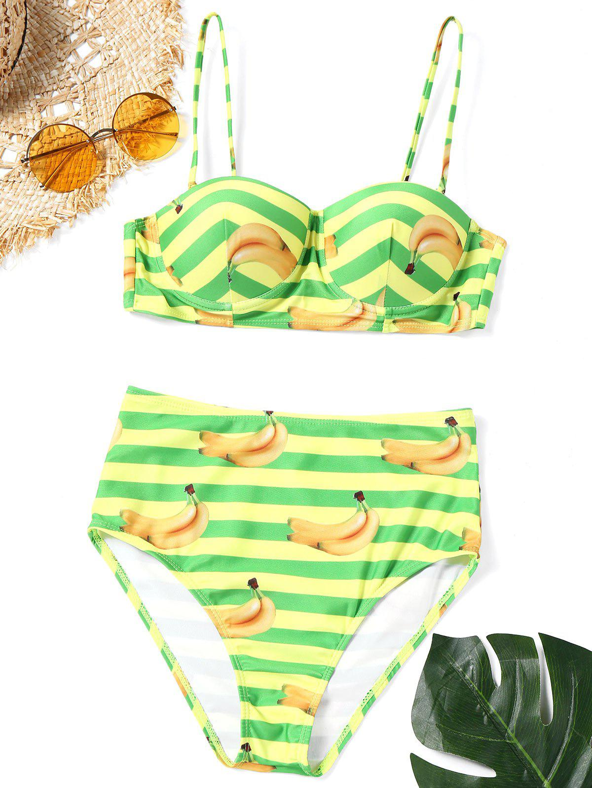 Banana Print Striped Bikini Set - COLORMIX XL