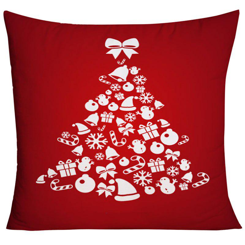 Christmas Elements Tree Print Square Decorative Pillow Case - RED W18 INCH * L18 INCH